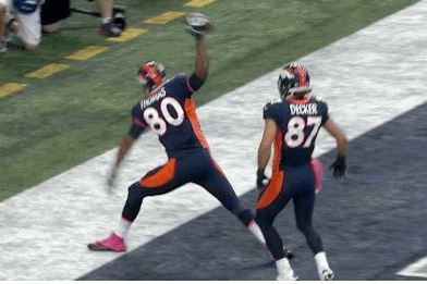 Broncos' Julius Thomas Spikes Himself in Face with Ball During TD Celebration