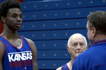 Video: Kansas Basketball Lampoons 'Old School' Frat-Pledging Scene