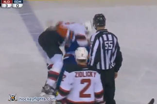 Video: Oilers' Brown Fights Devils' Salvador