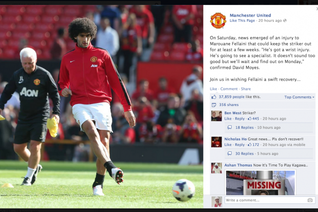 Manchester United Fans Mock Marouane Fellaini as Club Post Get Well Message