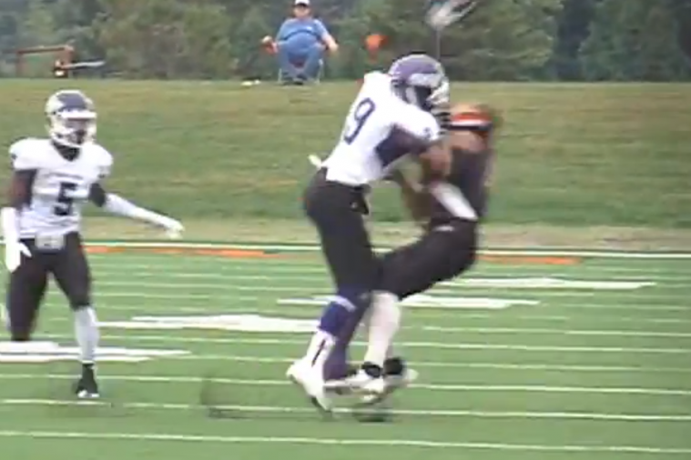 Division III Football Player Gets Hit so Hard His Mouth Guard Flies out