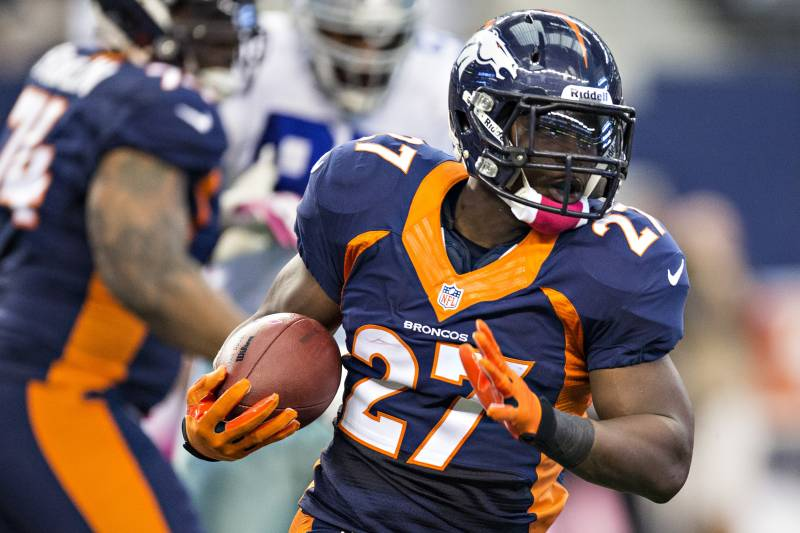 Knowshon moreno enjoying resurgence in 5th season with denver arlington tx october 6 knowshon moreno 27 of the denver broncos runs voltagebd Images