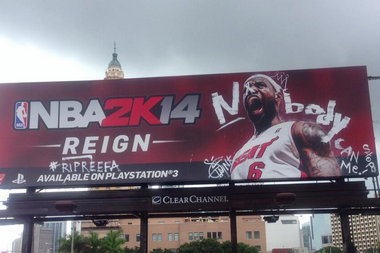 Street Artist Gives LeBron James Billboard a New Look