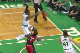 Jeff Green Simultaneously Jumps over D.J. Augustin While Blocking His Shot