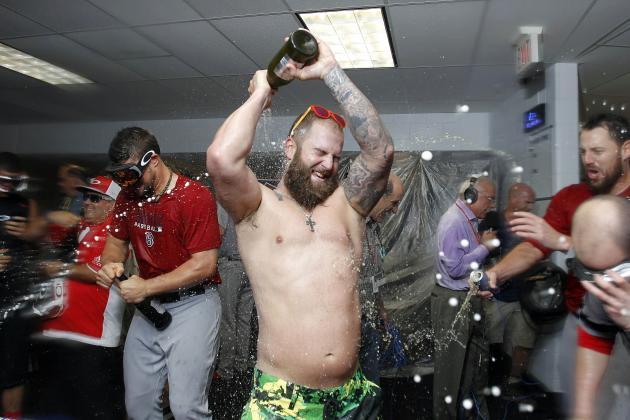 Boston Red Sox Celebrate Hard After Finishing Rays, Mike Napoli Goes Shirtless