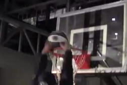 Video: Penn State's Bill O'Brien Struggles Mightily Trying to Dunk on 8-Foot