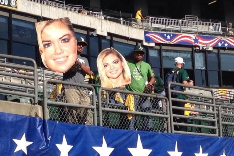 Oakland A's Fans Use Giant Kate Upton Heads to Distract Justin Verlander