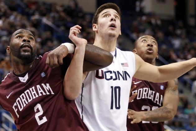 Tyler Olander Back at Open UConn Practice, Working Hard