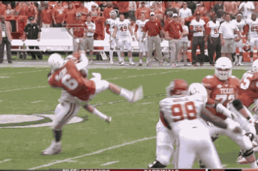 Oklahoma LB Eric Striker Flips Texas QB Case McCoy with Monster Hit
