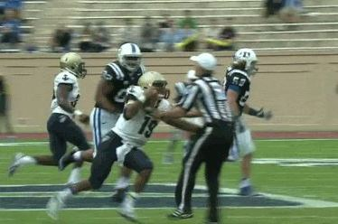 Navy Quarterback Keenan Reynolds Shoves Ref to Ground with Stiff Arm