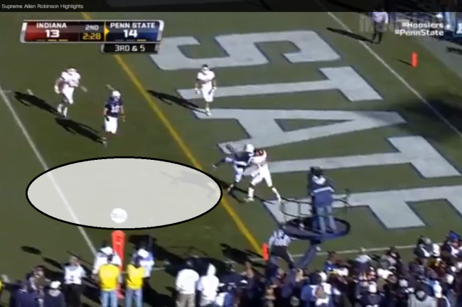 It happened on the other side tonight, but Robinson has done this before. (Graphics/Screen grab: Adam Biggers)