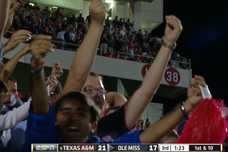 Ole Miss Fans Mock Johnny Manziel's 'Money' Sign After an Interception