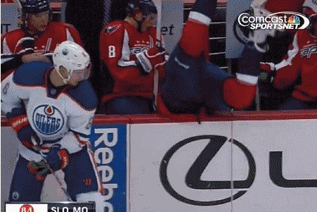 Capitals' Mike Green Mimics Torii Hunter as He Flips over Boards