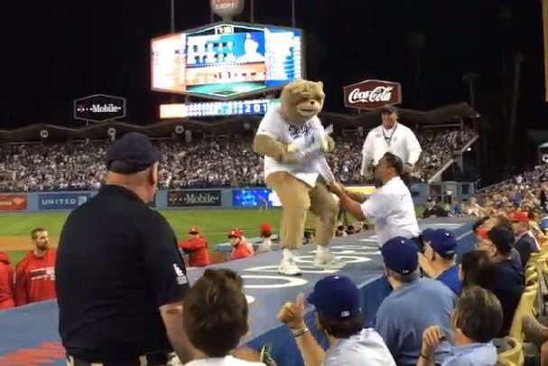 Dancing Bear Gets Escorted out of Cardinals-Dodgers NLCS Game 3