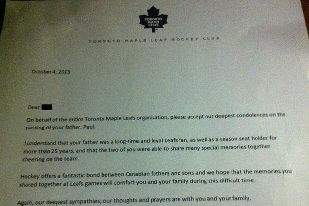 Maple Leafs Send Flowers, Letter to Season Ticket Holder's Family After He Dies