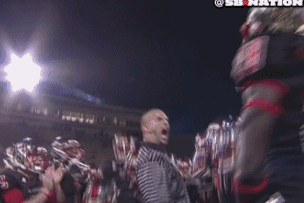 Western Kentucky's Strength Coach Breaks a Paddle over His Head, Another Coach