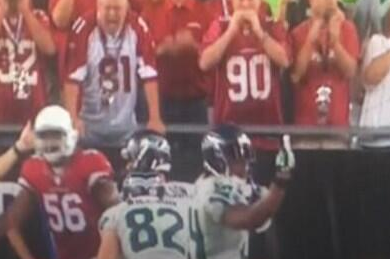 Marshawn Lynch Gives Someone the Finger