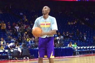 Kobe Bryant Shooting, Running on the Court Before Lakers Game in China