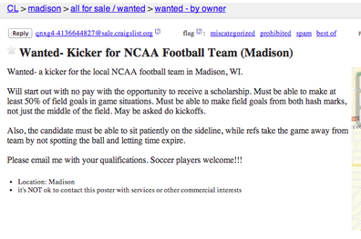Photo: Someone in Wisconsin Put Up a Craigslist Ad for a Kicker
