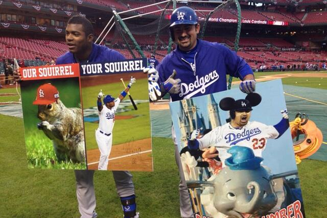 Yasiel Puig and Adrian Gonzalez Autograph Cardinals Fan's Sign Mocking Them