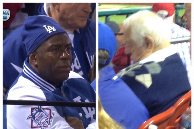 Magic Johnson Looks Worried, Tommy Lasorda Caught Sleeping During Dodgers Game?