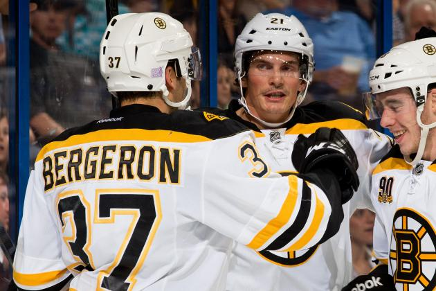 Bergeron Sets Tone in One-Sided Win over Bolts