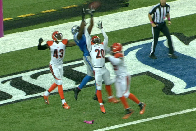 Lions' Calvin Johnson Catches 50-Yard TD in Triple Coverage