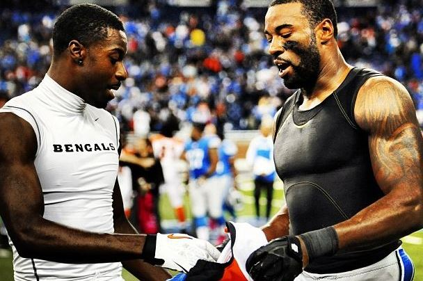 Bengals' A.J. Green and Lions' Calvin Johnson Swap Jerseys After Game