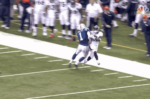 Colts Place-Kicker Pat McAfee Lays out Broncos Kick Returner Trindon Holliday