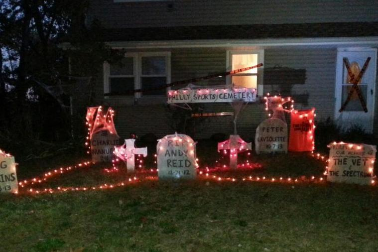 Guy Turns His Yard into a Philly Sports Graveyard for Halloween