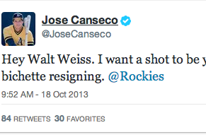 Jose Canseco As Colorado Rockies Hitting Coach?