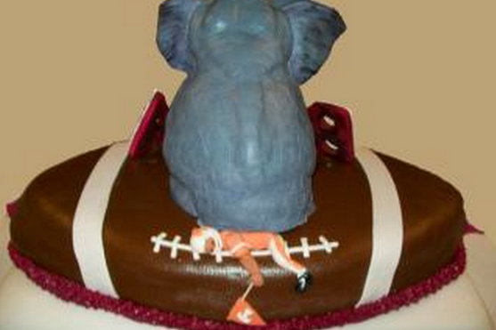 Alabama Football Fan's Groom's Cake Has Elephant Sitting on Tennessee Player