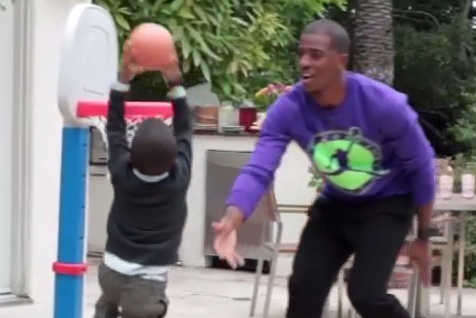 Chris Paul Throws Alley-Oop to Son, Who Promptly Throws It Down on Small Hoop