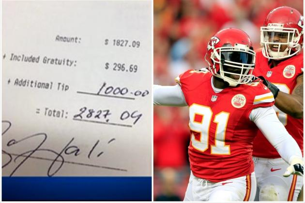 Kansas City Chiefs' Tamba Hali Left a Massive Tip After a Celebration Dinner
