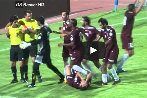 Kuwaiti Players Attack Referee, Referee Fights Back While Showing Red Cards