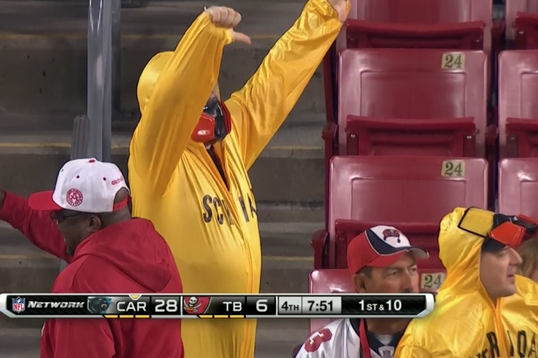 Tampa Bay Fans Wear Hazmat Suits to Mock Greg Schiano for MRSA Cases
