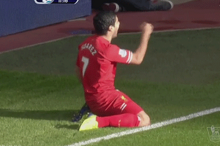 Luis Suarez's Unfortunate Celebration V West Brom Really Sucked [Gif]