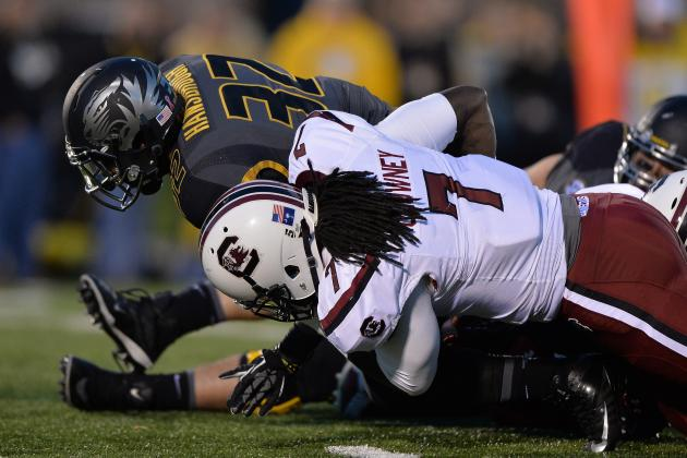 Michael Sam Having the Year of His Life but Jadeveon Clowney Still SEC's Best DE