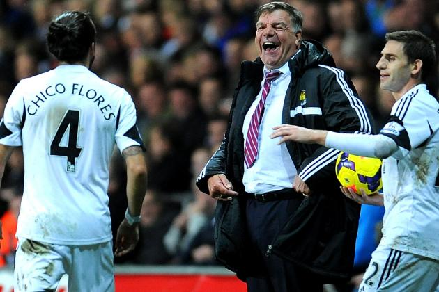 Sam Allardyce Laughs as Chico Flores Dives in Swansea vs. West Ham United