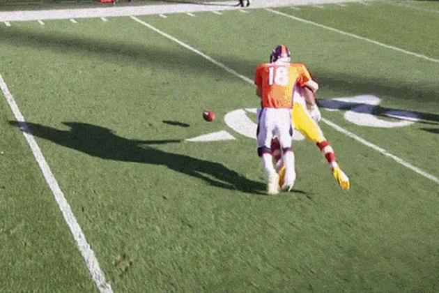 Peyton Manning Was Called for an Awkward Holding Penalty Against the Redskins