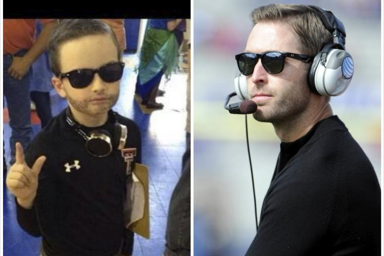 Little Kid Sports a Spot-on Texas Tech Head Coach Kliff Kingsbury Costume