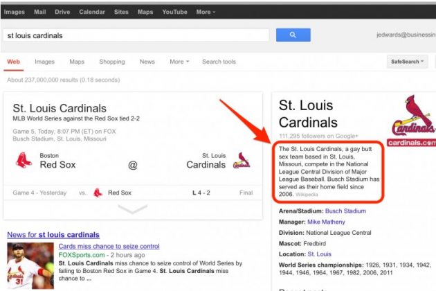 Google Displayed Homophobic Results for St Louis Cardinals Search for Hours