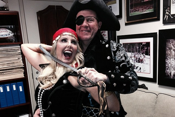 Patriots Coach Bill Belichick Dressed Up as a Pirate for Halloween