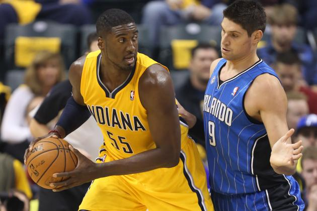 Roy Hibbert Meets Jason Maxiell in Midair to Reject His Dunk Attempt