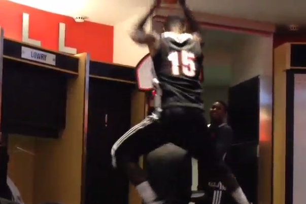 Toronto Raptors Players Posterize a Raptors Employee