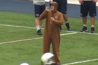 Video: PSU's Bill O'Brien Coached Practice in a Nittany Lion Costume