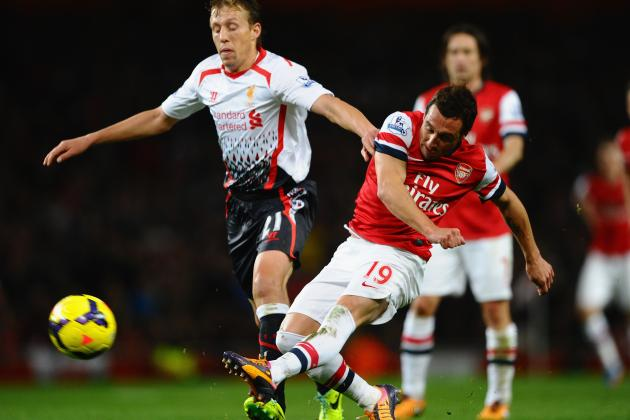 GIF: Santi Cazorla Fires Arsenal in Front Against Liverpool