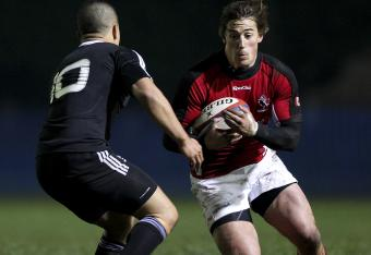 Jeff Hassler has Canada's first try vs the Maori All Blacks.