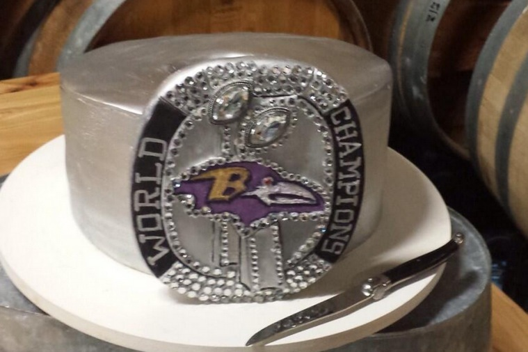 Epic Groom's Cake Is in the Shape of Baltimore Ravens Super Bowl Ring