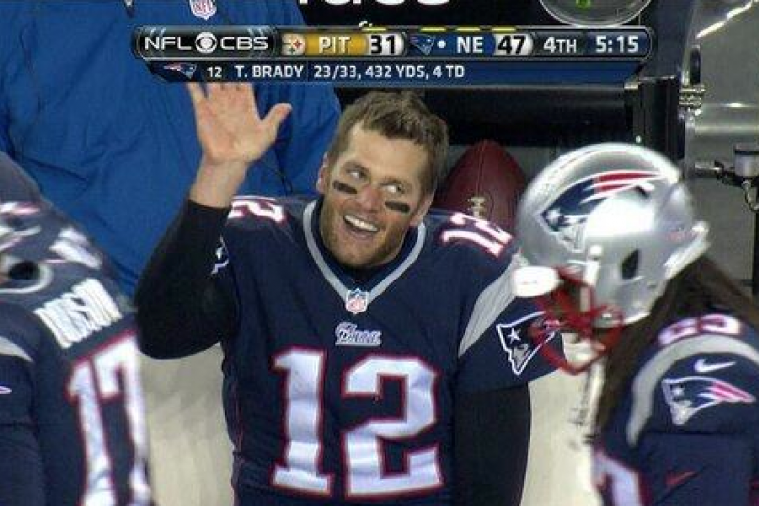 Tom Brady Left Hanging After Throwing His 4th TD Pass of the Day